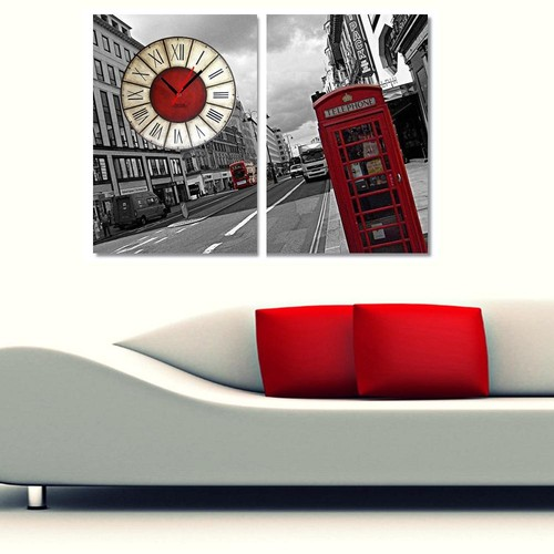 Tictac Design 2 Parçalı Kanvas Tablo Saat - London4