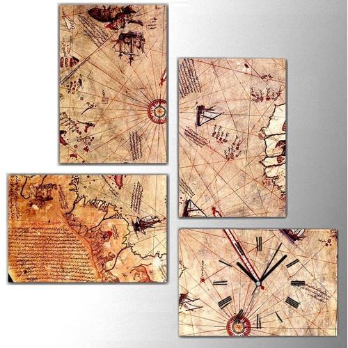 Tictac Design 4 Parça Kanvas Tablo Saat (4x25x38) -4