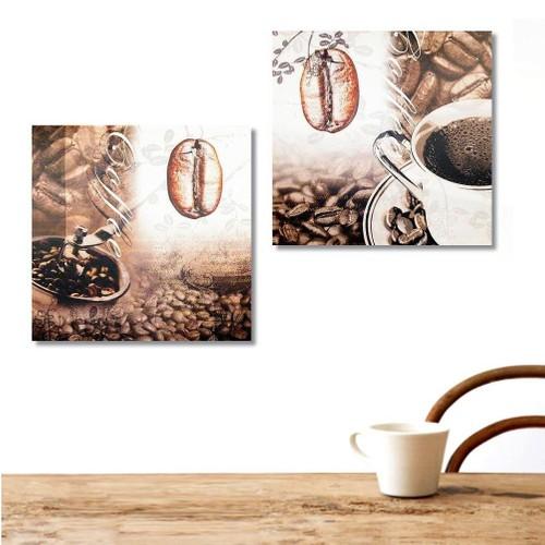 Tictac Design 2 Parçalı Kanvas Tablo - Kahve Çekirdeği