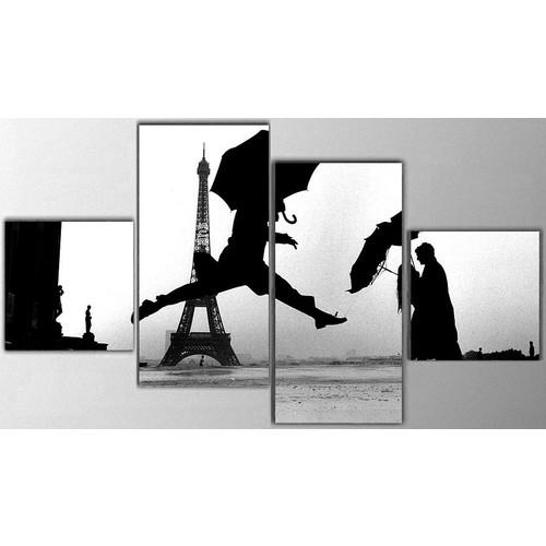 Tictac Design 4 Parça Kanvas Tablo - Paris
