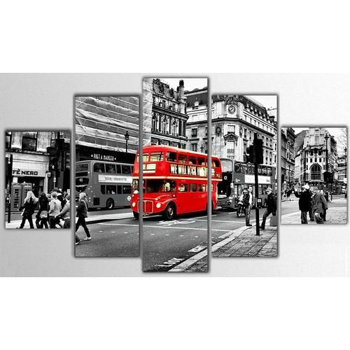 Tictac Design 5 Parça Kanvas Tablo - Londra