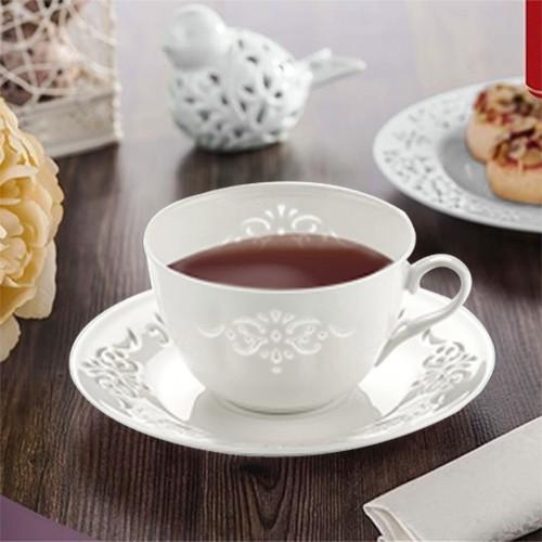 NEVA N608 Dantel S 12 Parça Dantella Beyaz Çay Takımı
