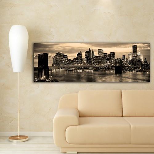 Decostil Brooklyn Köprüsü Gece Kanvas Tablo - 30x90 cm Gece