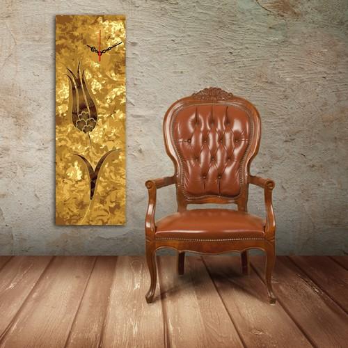 Decostil Lale Altın Kanvas Saat - 30 x 90 cm