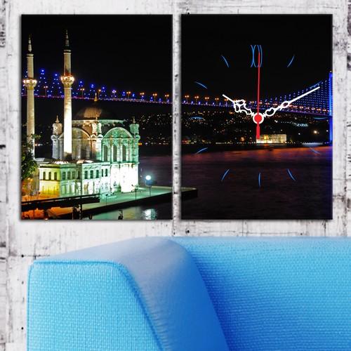 Decostil 2 Parçalı Kanvas Saat Ortaköy ve Boğaz Köprüsü