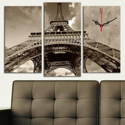 Decostil Eyfel Kulesi 3 Parça Kanvas Saat