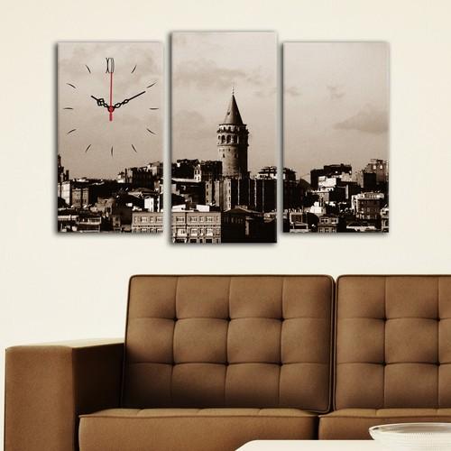 Decostil Galata Kulesi 3 Parça Kanvas Saat