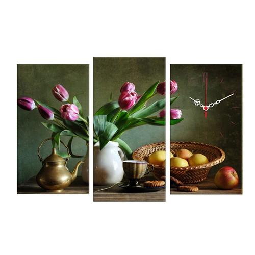 Decostil Çiçek ve Meyveler 3 Parça Kanvas Saat