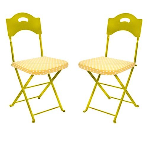 Aliz 2 li Sandalye Minderi - Sarı Puantiye