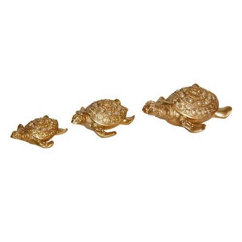 Atadan Dekoratif 3 lü Kaplumbağa Süs-Altın