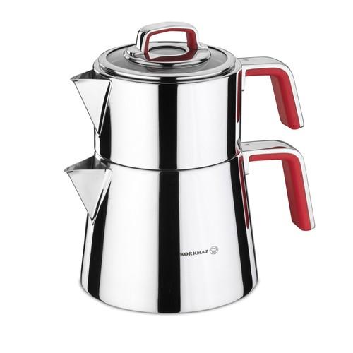 Korkmaz A081-01 Vertex Kırmızı Çaydanlık Takımı