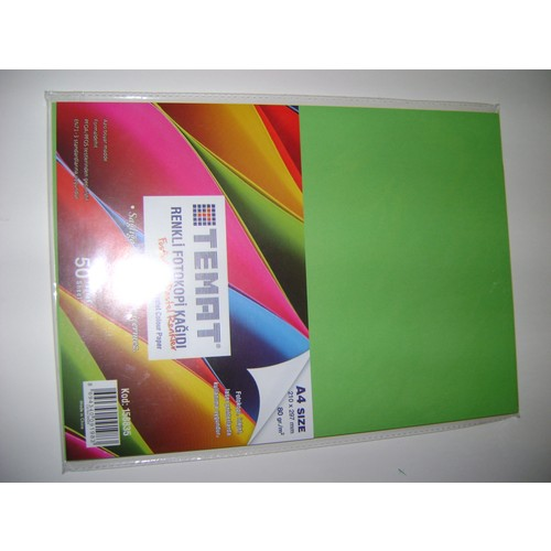 Temat A4 Fotokopi Kağıdı 5*10=50 Adet Karışık Renk