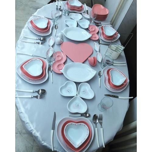 Keramika 74 Parça 6 Kişilik Pink Love Yemek Ve Kahvaltı Takımı