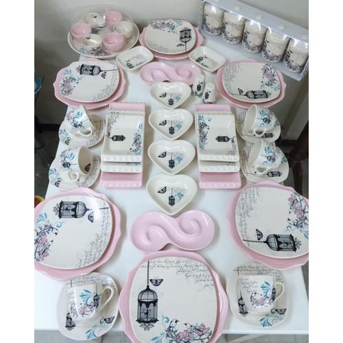 Keramika 58 Parça 6 Kişilik Retro Kahvaltı Takımı