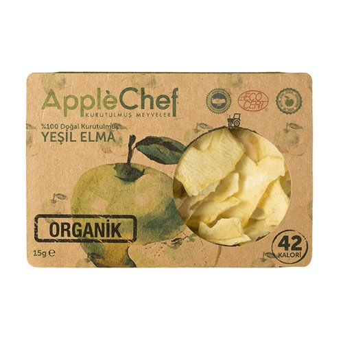 Organik Yeşil Halka Kesim Elma, 15gr 4+1 Hediyeli!