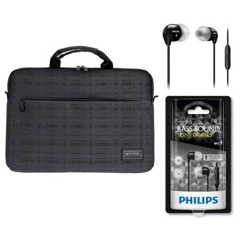 """Port Belize 15.6"""" Siyah Notebook Çantası 110200 + Philips SHE3595 Kulakiçi Kulaklık"""