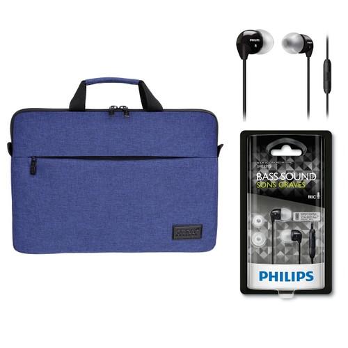 """Port Belize 15.6"""" Lacivert Notebook Çantası 110202 + Philips SHE3595 Kulakiçi Kulaklık"""