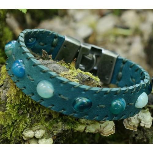 Onka Tasarım Mavi Akik Taşlı Kobalt Mavi Deri Bileklik