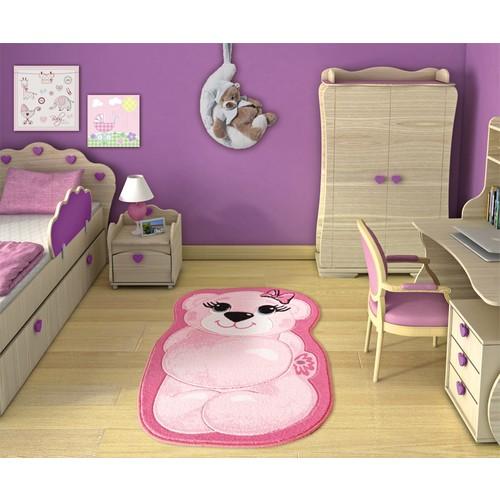 Confetti Pretty Bear Pembe Oymalı Çocuk Halısı - 80x127 cm