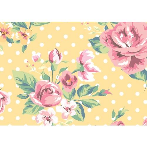 Cushion Design 4 lü Flower Amerikan Servis - Sarı