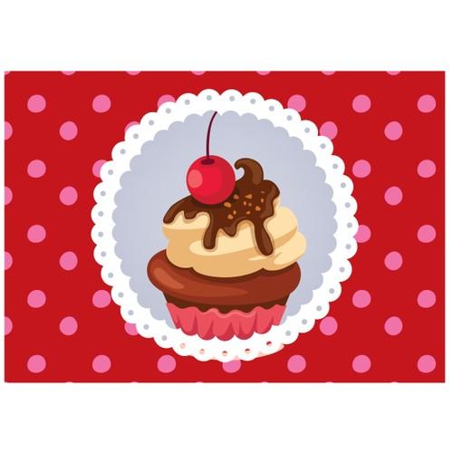 Cushion Design 4 lü Cupcake Amerikan Servis - Kırmızı