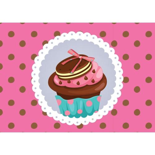 Cushion Design 4 lü Cupcake Amerikan Servis - Pembe Kahve