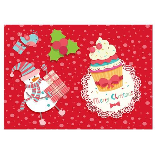 Cushion Design 4 lü Christmas Cupcake Amerikan Servis