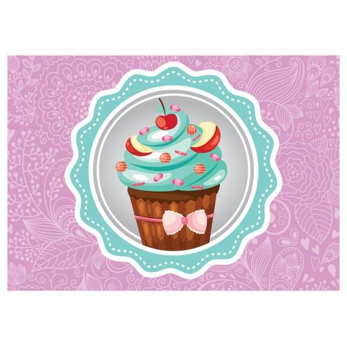 Cushion Design Cupcake Amerikan Servis - Mor