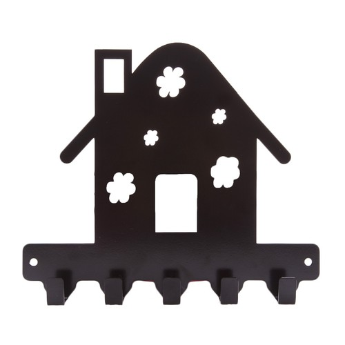 Chic Metal Çiçekli Ev 4 lü Askı -Siyah