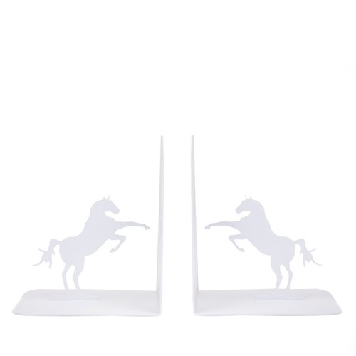 Chic Metal Unicorn Kitap Tutucusu - Beyaz