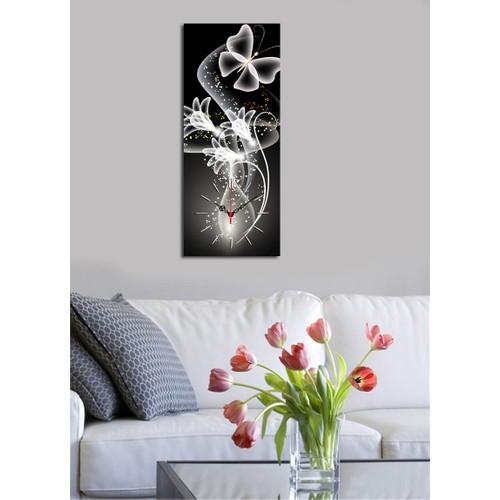 Dekomanya Tek Parça Kanvas Saat - 30 x 70 cm Kelebek Şeffaf