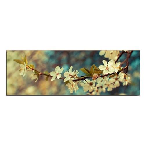 TabloModern Beyaz Çiçek Kanvas Tablo 30x90 cm