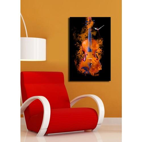 Turkish Home Kanvas Saat Gitar ve Alevler
