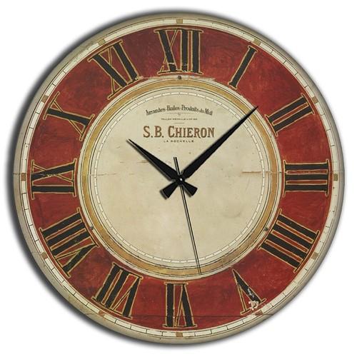 Frank Ray 60 cm MDF Wall Clock Kırmızı Roma Rakamlı