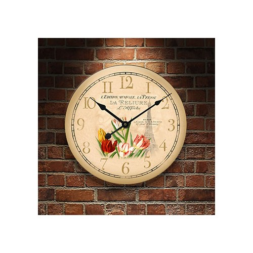 Frank Ray 60 cm Paris Çiçekli Mdf Duvar Saati