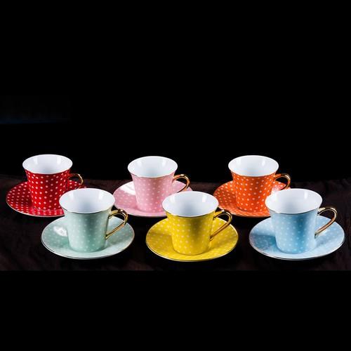 Porio Renkli Puantiyeli 6 lı Çay Fincanı