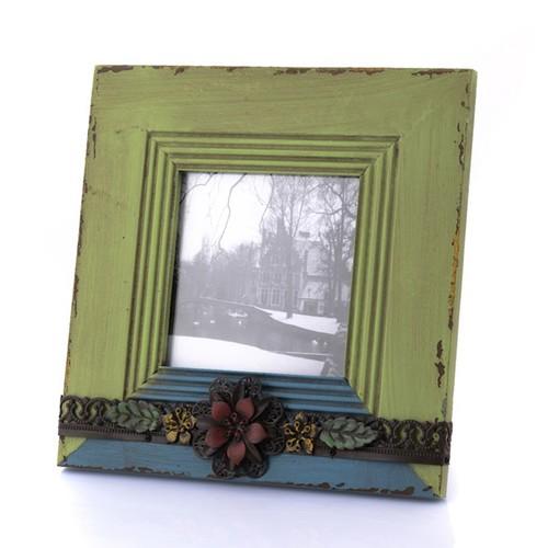 Porio Yeşil-Mavi Çiçekli Çerçeve 24x24