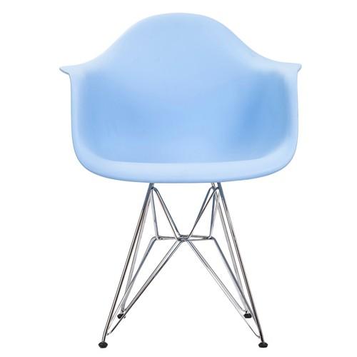 Şaziye Metal Eames Kollu İthal Sandalye Tel Ayak- Mavi