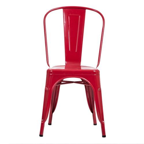 Şaziye Metal Tolix Kolsuz Sandalye- Kırmızı