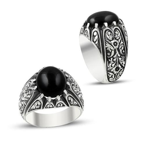 Anıyüzük Erzurum El İşi Oniks Taşlı Gümüş Yüzük