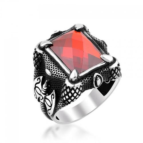 Anıyüzük Balta İşlemeli Kartal Pençeli Kırmızı Zirkon Taşlı Gümüş Yüzük