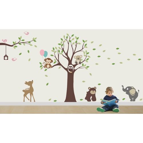 Besta Ağaç ve Hayvanlar Duvar Sticker