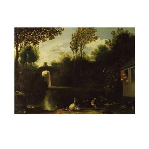 ARTİKEL Anthonie Van Borssum - A Garden Scene with Waterfowl 50x70 cm KS-1393