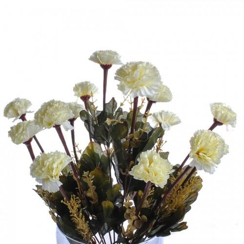 Yedifil Büyük Karanfil Beyaz Yapay Çiçek