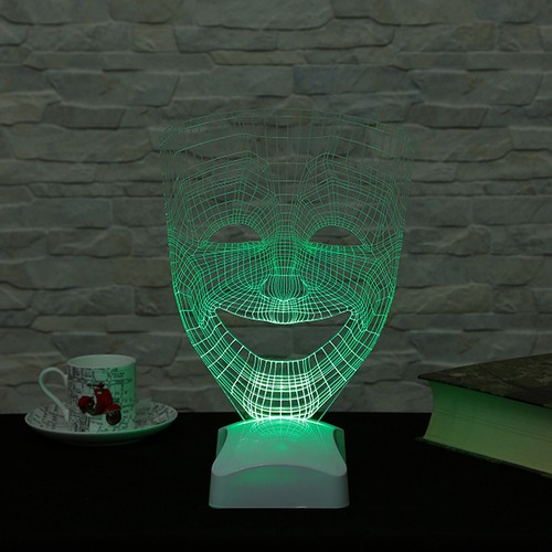 Dekorjinal 3 Boyutlu Tiyatro Maskesi Gülen surat Lamba V23D184