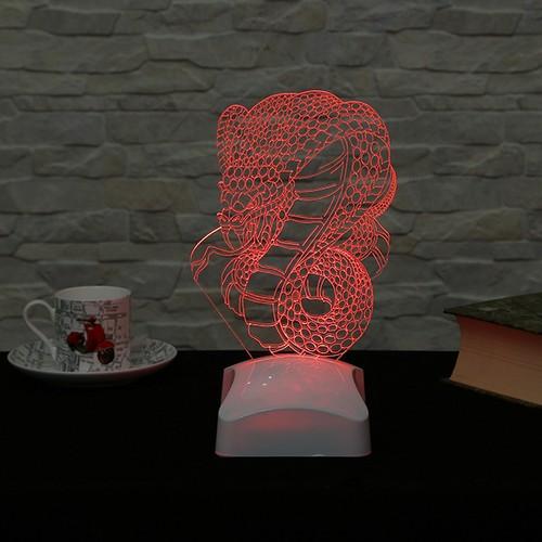 Dekorjinal 3 Boyutlu Kobra yılan Lamba V23D046
