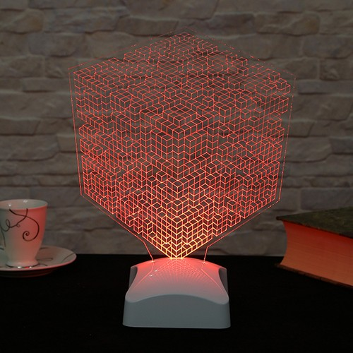 Dekorjinal 3 Boyutlu Küp kareler geometrik Lamba V23D023