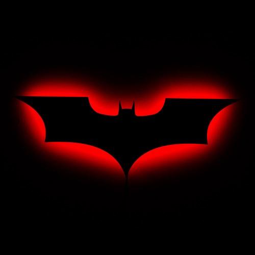 Dekorjinal Gölge Lamba Kırmızı Batman Sembolü GLMB015