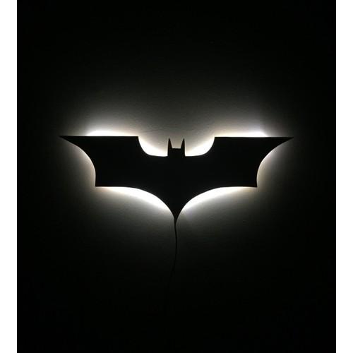 Dekorjinal Gölge Lamba Beyaz Batman Sembolü GLMB018