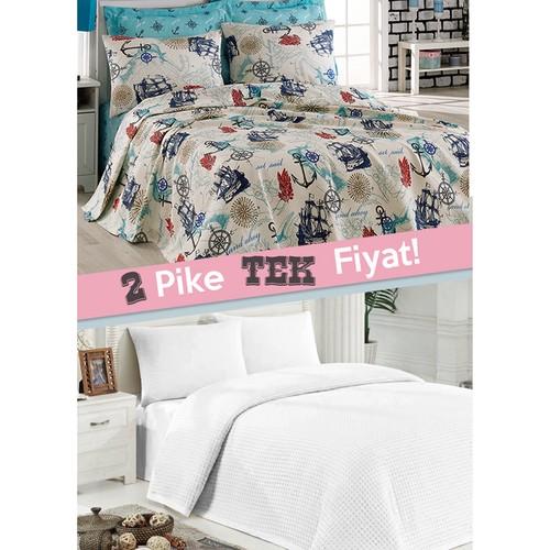 Eponj Home 2'li Pike Tek Kişilik Marine+Düzboya Beyaz